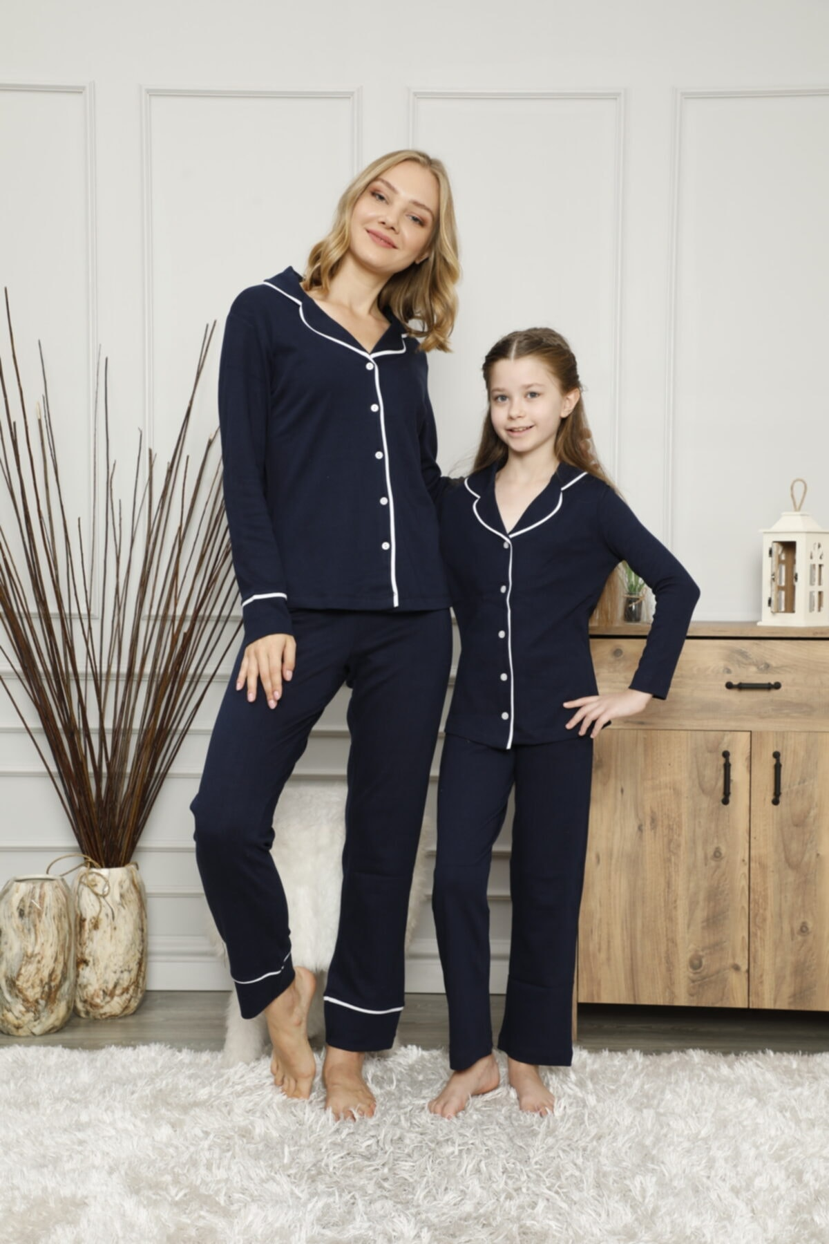 KILIÇ TEKSTİL Anne Kız Pijama Takımı Kombini Interlok Kumaş 1