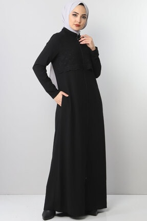 Tesettür Dünyası Nakışlı Elbise Tsd2510 Siyah