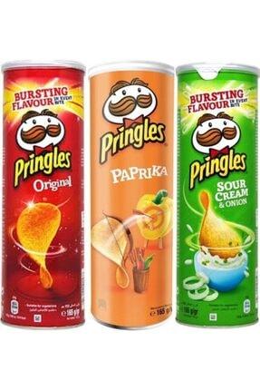 Pringles Karışık Paket 1 Adet - Sade 165 gr + Paprika 165 gr + Ekşi Krema Soğan 165 gr