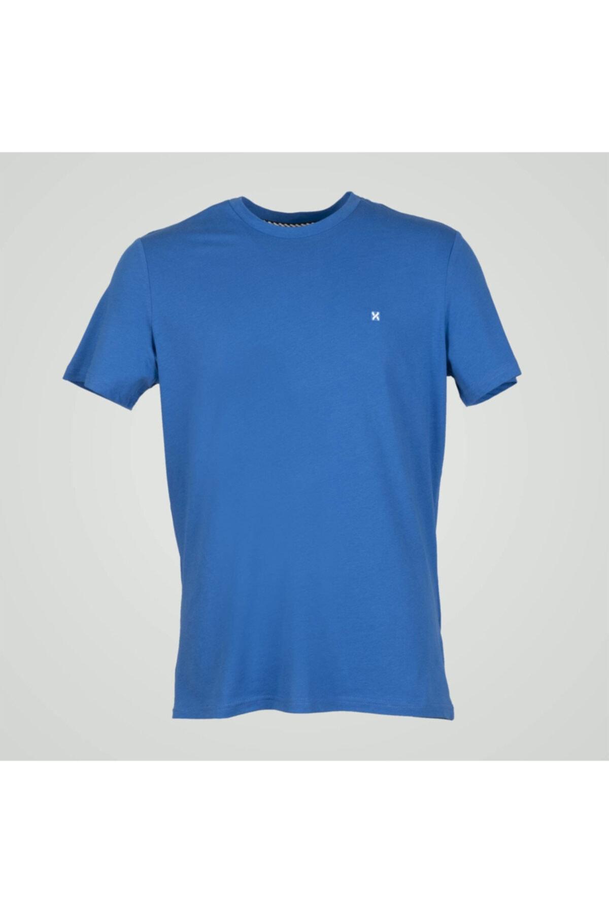 Exuma Erkek Mavi Sıfır Yaka Tişört 1