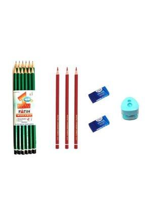 Fatih 12 Li Kurşun Kalem + 3 Kırmızı Kalem+ 2 Silgi + Kalemtıraş