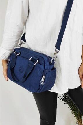 SMART BAGS Kadın Lacivert Krinkıl El Çantası 3064