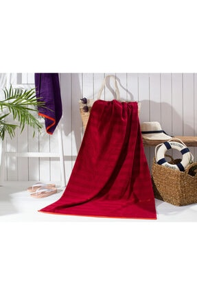 Madame Coco Delancy Jakarlı Plaj Havlusu - Kırmızı - 80x140 Cm
