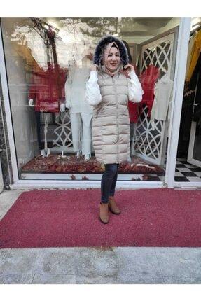 Eyyo Kadın Bej Şapkası Kürk Detaylı Şişme Yelek