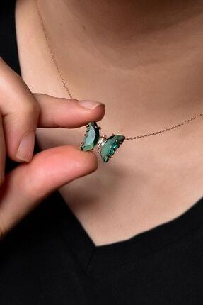 Papatya Silver Kadın  925 Ayar Gümüş Nano Ay Taşı Yeşil Kelebek Kolye