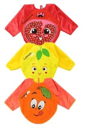Kids 3 Adet Giyilebilir Meyve Desenli Kollu Önlük