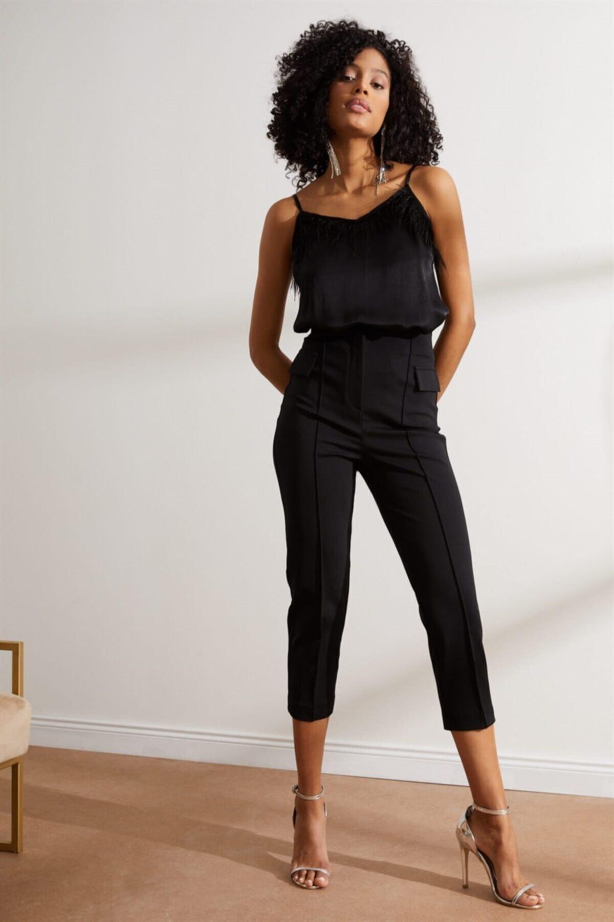 Setre Kadın Siyah Yüksek Bel Kat Izli Kumaş Pantolon 1