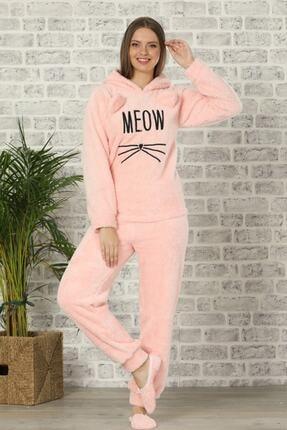 Pijamaevi Kadın Pembe Renkli Meow Desenli Tam Peluş Pijama Takımı