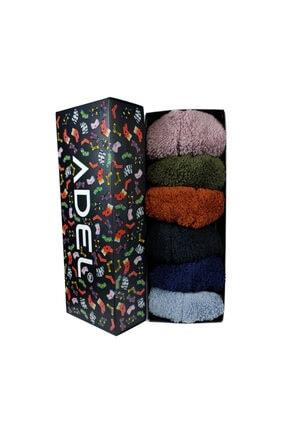 ADEL ÇORAP Kutulu Karışık Renkli 6'lı Patik Peluş Çorap Seti