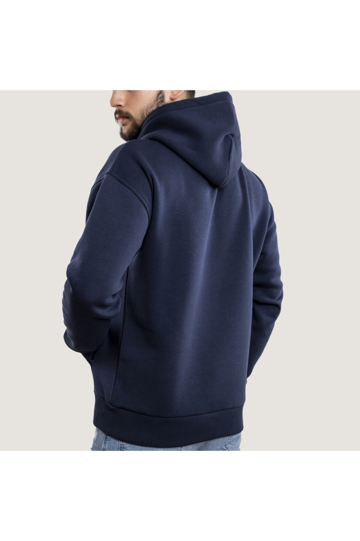 WELLHS Erkek Lacivert Balancıng Baskılı Oversize Sweatshirt 2