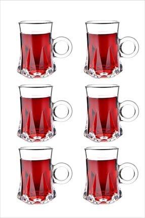 Perotti 6'lı Gianna Kulplu Dayanıklı Cam Çay Bardağı & Fincanı Seti 140 Ml