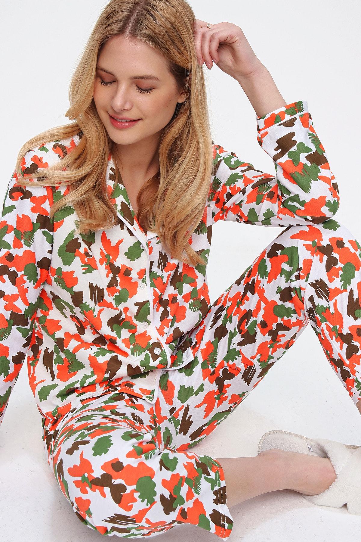 Trend Alaçatı Stili Kadın Mıx Gömlek Yaka Pijama Takım ALC-X5498 1