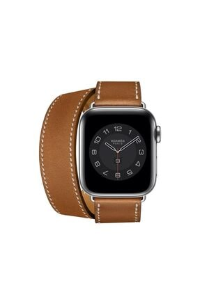 Teknoband Apple Watch Hermes Kordon Double Tour Deri Loop 38/40mm Uyumlu (LOGO VAR)