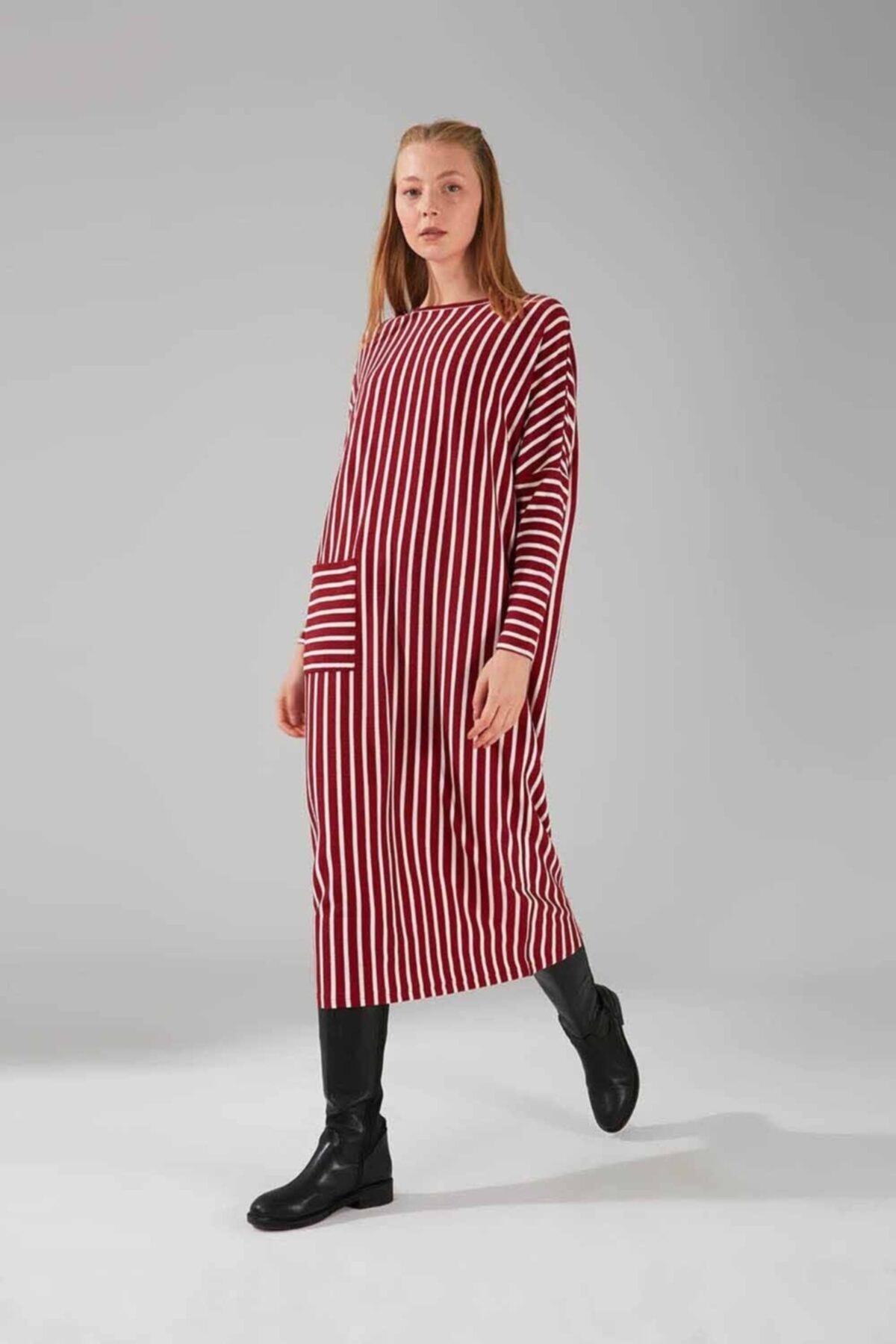 Mizalle Cep Detaylı Çizgili Elbise (Bordo) 1