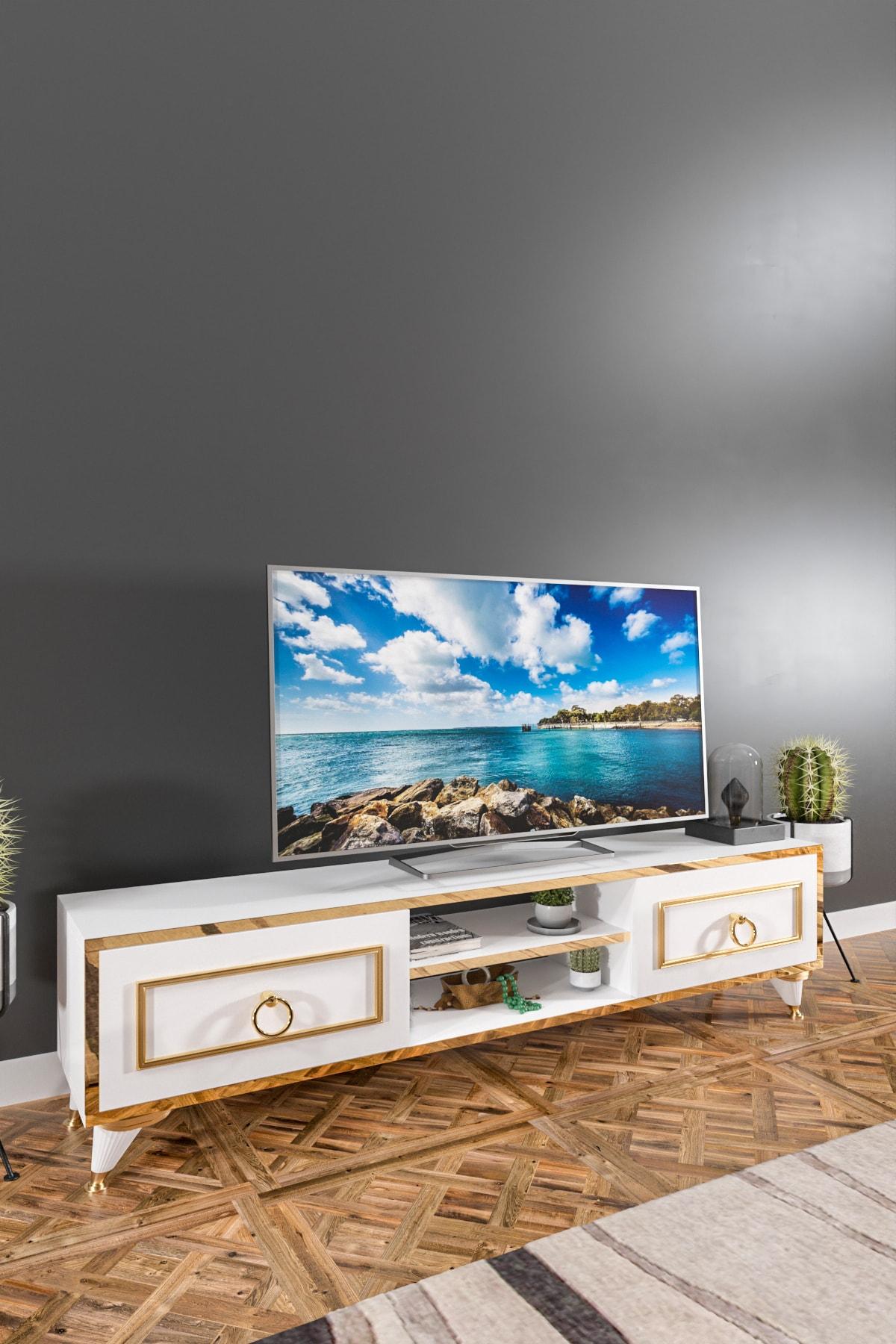 Ardeno Lotus Tv Ünitesi Beyaz 2