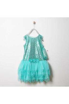 Panço Kız Çocuk Turkuaz Abiye Elbise