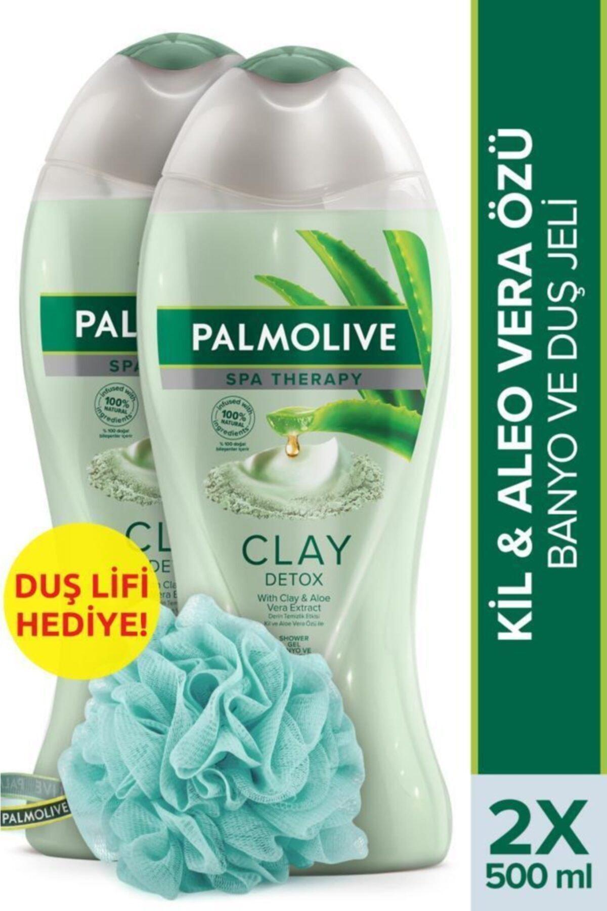 Palmolive Spa Therapy Clay Detox Kil Ve Aloe Vera Özü Banyo Ve Duş Jeli 2x 500 ml+ Duş Lifi 1