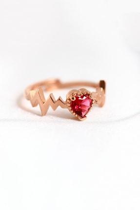 LOTUS GÜMÜŞ 14 Ayar Rose Gold Kaplama Kalp Ritmi Ayarlanabilir Yüzük