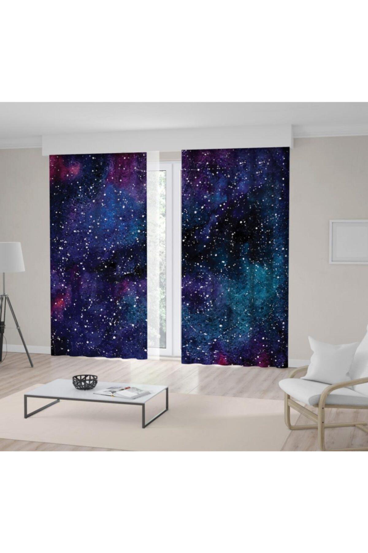 Henge Home Galaksi Yıldızlı Gökyüzü Desen Lacivert Mor Fon Perde 1