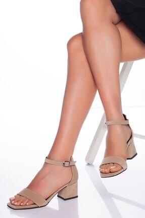 derithy Kadın Vizon Süet Klasik Topuklu Ayakkabı