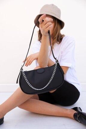 Shule Bags Saten Kumaş Baget Çanta Bonnie Siyah
