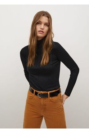 MANGO Woman Kadın Siyah Uzun Kollu Fitilli Tişört