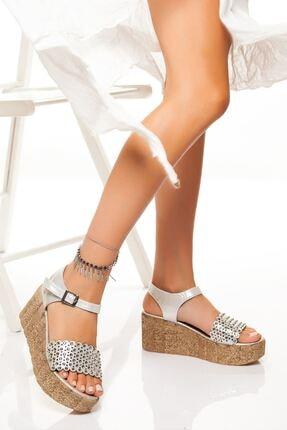 derithy Kadın Gümüş Dolgu Topuklu Ayakkabı
