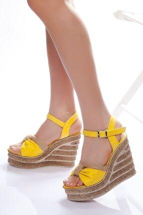 derithy Kadın Sarı Dolgu Topuklu Ayakkabı