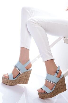 derithy Kadın Mavi Dolgu Topuklu Ayakkabı