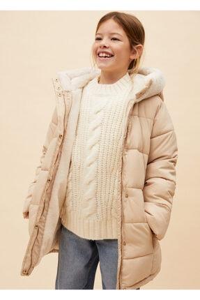 MANGO Kids Kadın Ekru Suni Kürk Astarlı Ceket