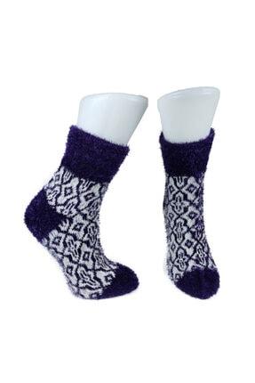 ADEL ÇORAP Mor Renkli Peluş Soket Çorap
