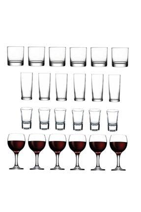 Paşabahçe 24 Parça Istanbul Viski Rakı Shot Ve Şarap Bardağı Seti
