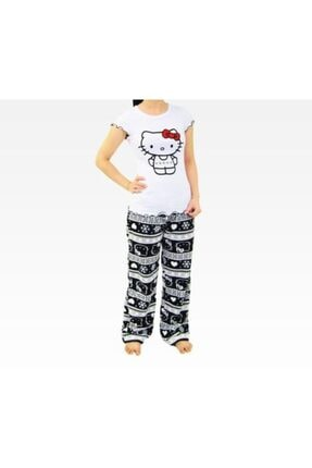Hello Kitty Kadın Beyaz Adult Black Pj Set