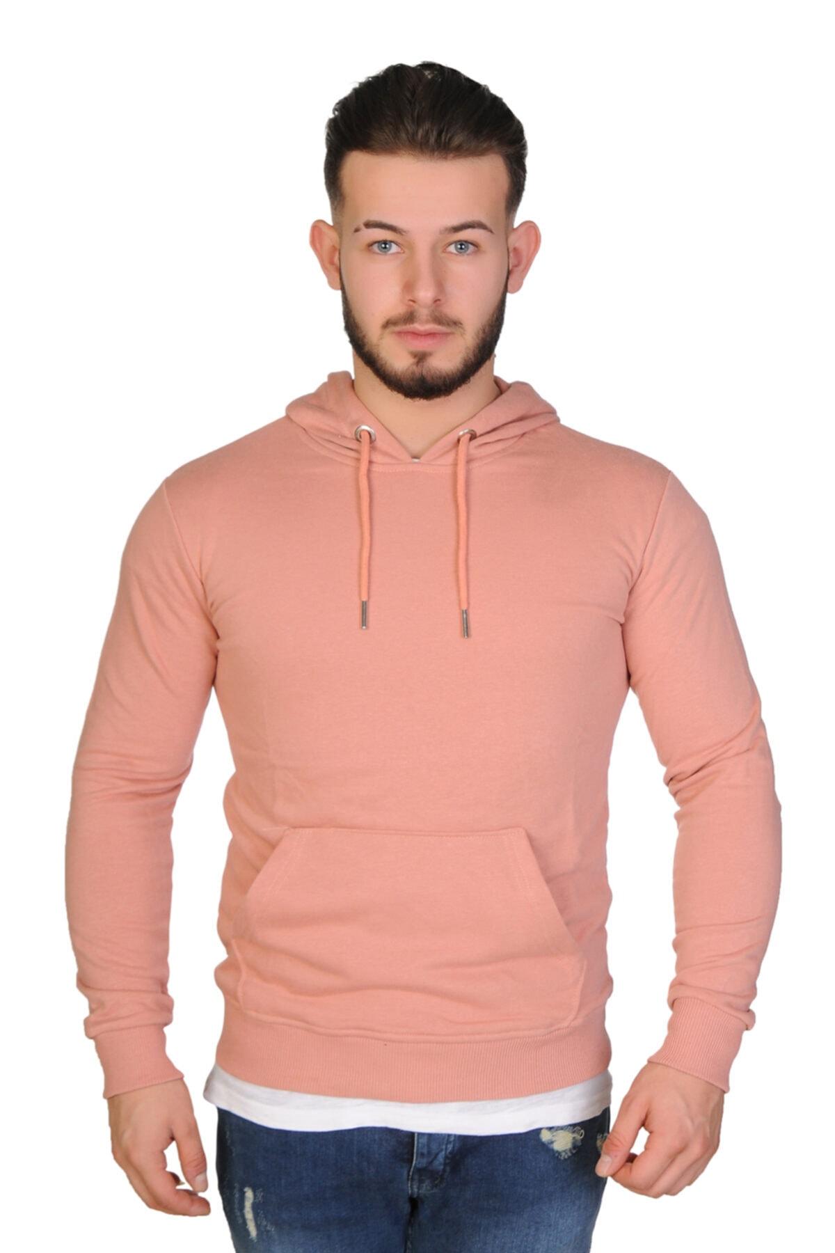 Baresse Collection Erkek Pudra Kapüşonlu Kanguru Cepli Sweatshirt 1