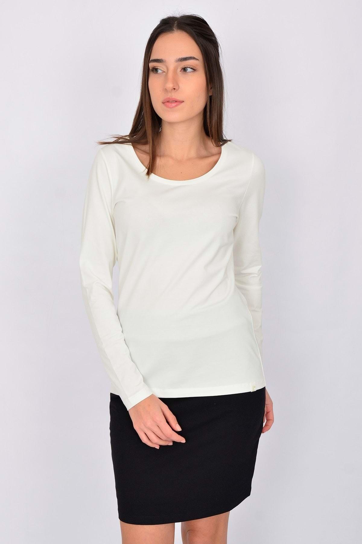 Letoile Pamuk Uzun Kollu Kadın T-shirt Ekru 1