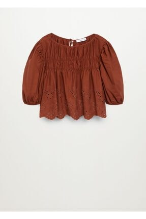 MANGO Woman Kadın Kızıl kahverengi Kabarık Kollu Bluz