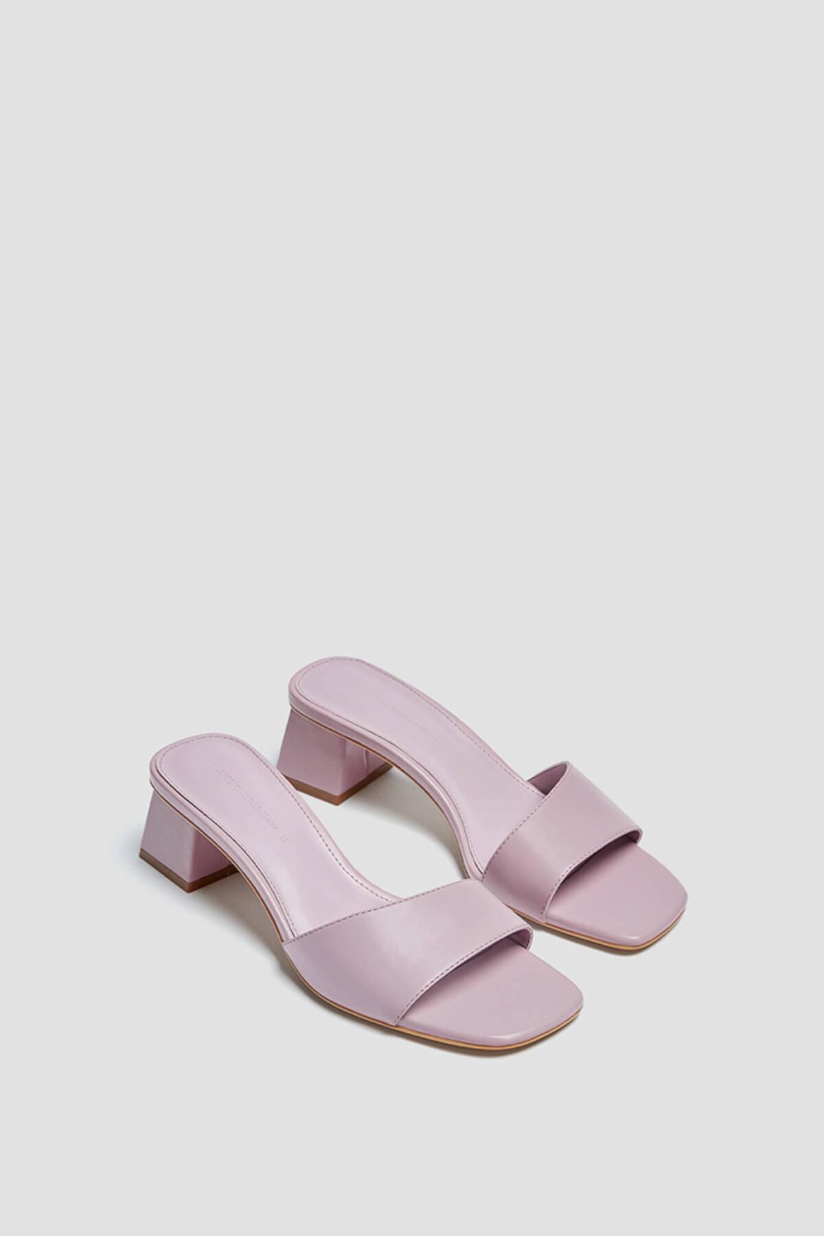 Pull & Bear Kadın Leylak Kare Burunlu Topuklu Arkası Açık Ayakkabı 11609740