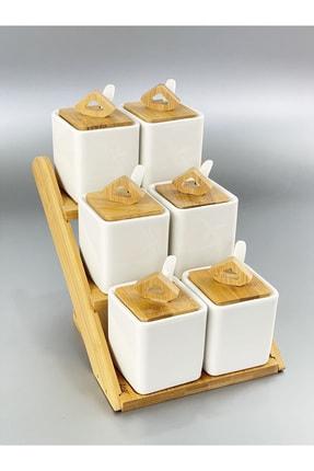 ACAR Bambu Porselen 6 Lı Kaşıklı 19 Parça Baharat Seti