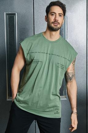 Sateen Men Erkek Haki Baskılı T-Shirt