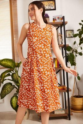 armonika Kadın Turuncu Küçük Çiçekli Kolsuz Midi Boy Elbise ARM-21Y001011