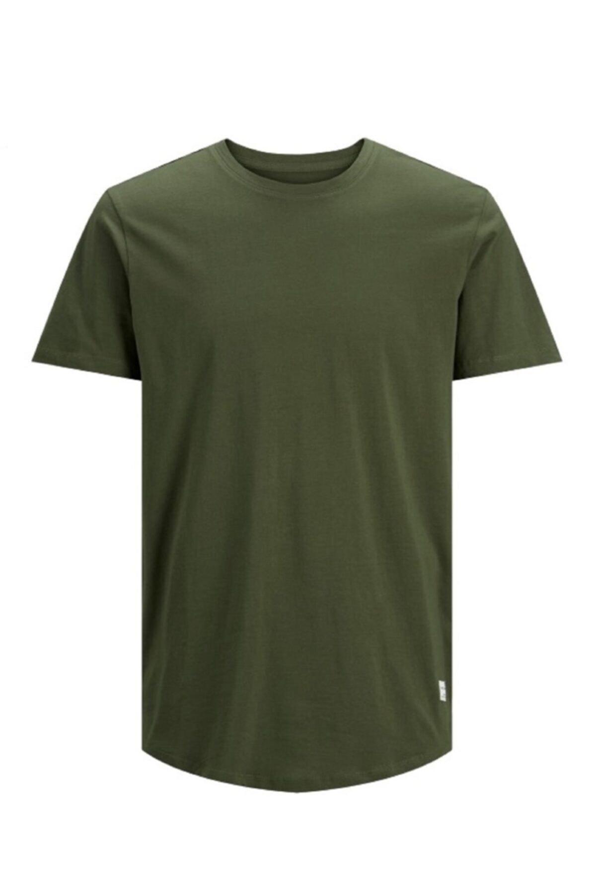 Jack & Jones s Erkek Düz Haki Yeşil Renk Tişört 12113648 2