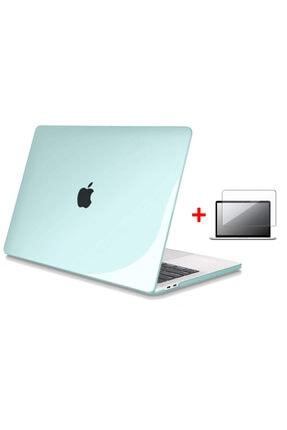 "TLOSS Apple Macbook Air 13"" M1 A2337 2020 Uyumlu Kristal Su Yeşili Koruma Kılıfı Kapak + Ekran Filmi"