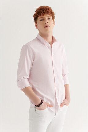 Avva Erkek Açık Pembe Düz Düğmeli Yaka Regular Fit Gömlek A11y2026