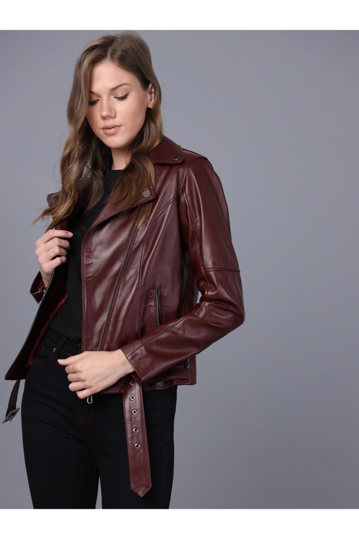 Basics&More Kadın Bordo Deri Ceket 1