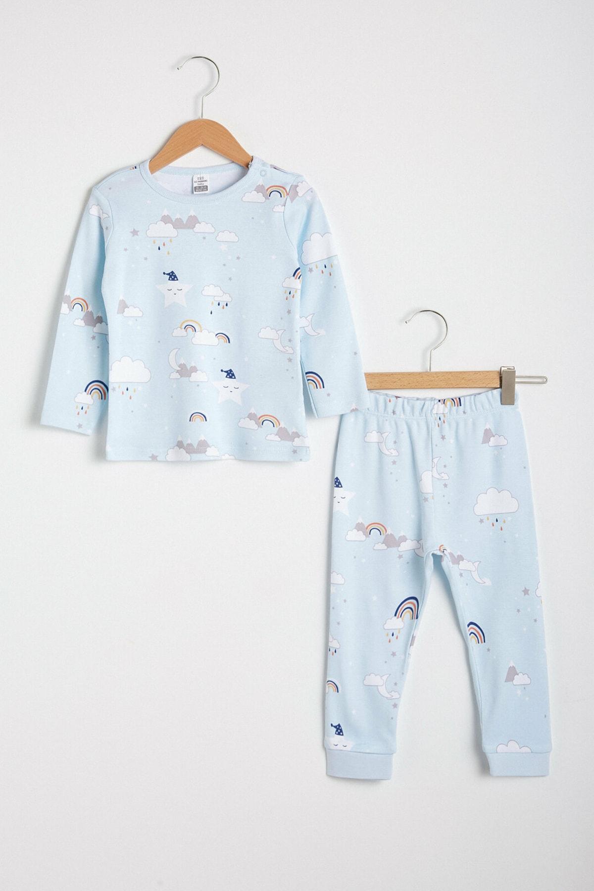 LC Waikiki Erkek Bebek Açık Mavi Baskıl Lqk Pijama Takımı 1