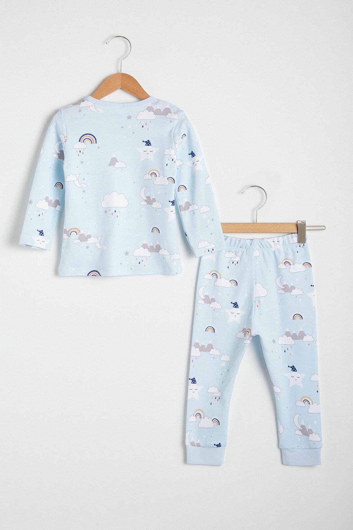 LC Waikiki Erkek Bebek Açık Mavi Baskıl Lqk Pijama Takımı 2