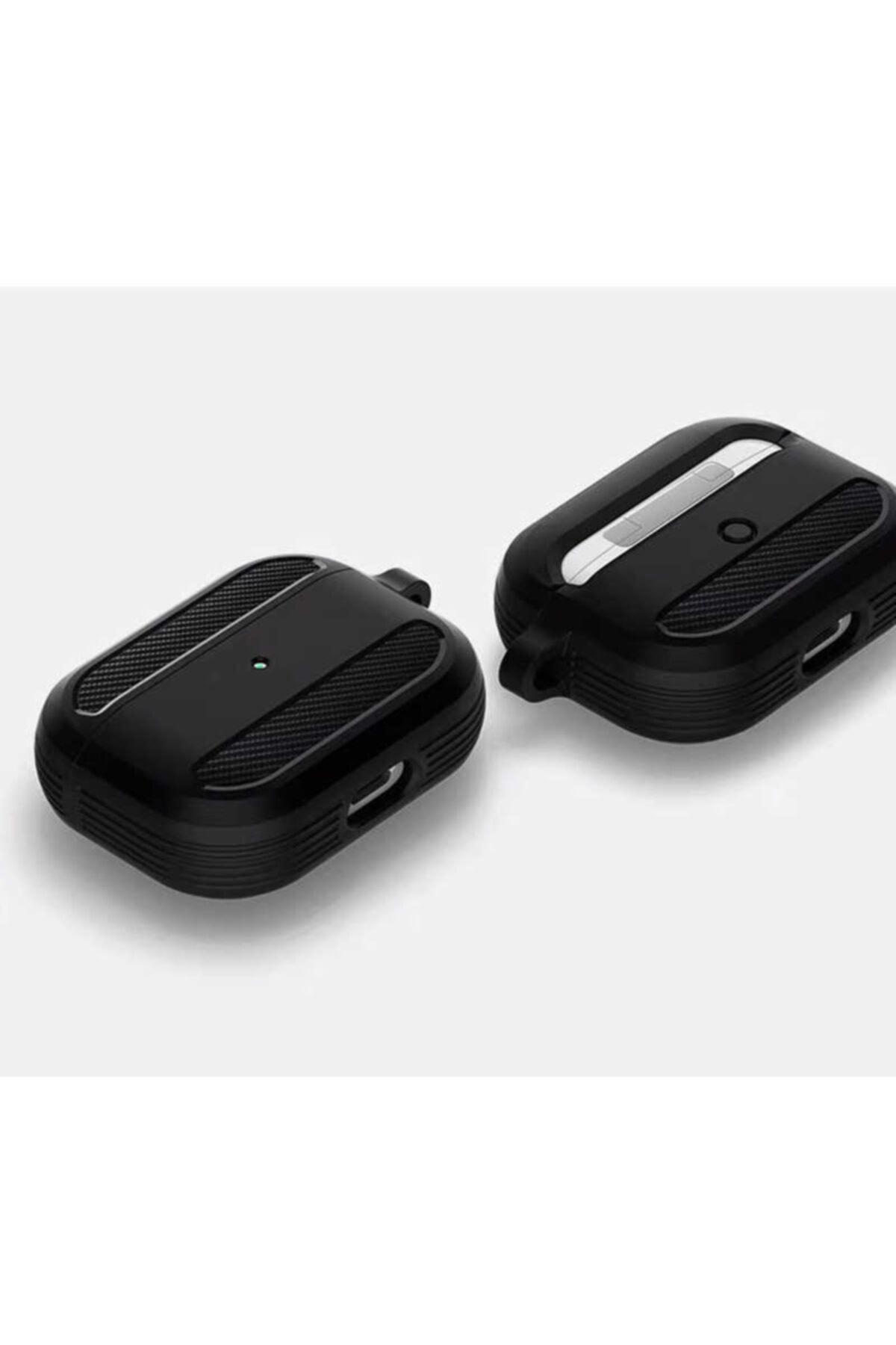 WIWU Apple Airpods Pro Kılıfı Karbon Tasarımlı Tpu Wireless Şarj Destekli Askılı Aparatlı Kılıf 2