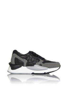 İnci Kadın Siyah Vegan Süet Tekstil Bağcıklı Klasik Spor Ayakkabı -3001