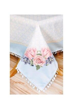 Sude Leke Tutmaz Çiçek Desenli Masa Örtüsü Mavi Renk 140*140 Cm