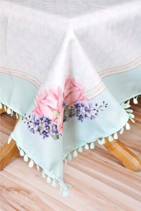 Sude Leke Tutmaz Çiçek Desenli Masa Örtüsü Yeşil Renk 140*140 Cm